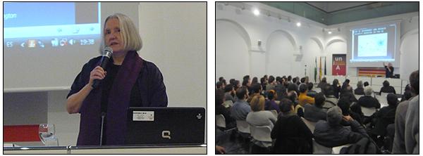 Saskia Sassen durante su intervención en las jornadas 'Sobre capital y territorio III (de la naturaleza de la economía política... y de los comunes)'