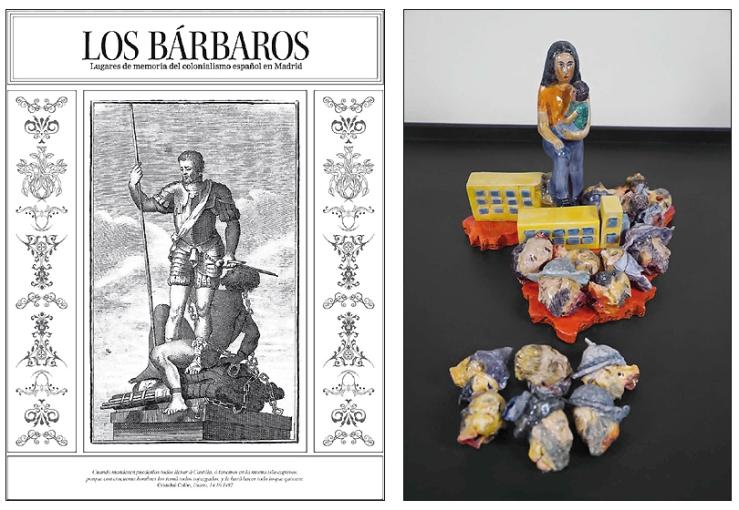 """Portada de la revista editada para """"Los Bárbaros"""" y pieza """"Monumentos anti coloniales"""" de D.Ortiz"""